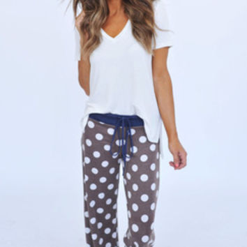 Polka Dot Lounge Pants- Mocha