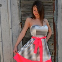 Style Rack White Dress with Black Stripes and Neon Pink Hem and Sash Belt