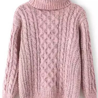 Pink Turtleneck Long Sleeve Knit Sweater