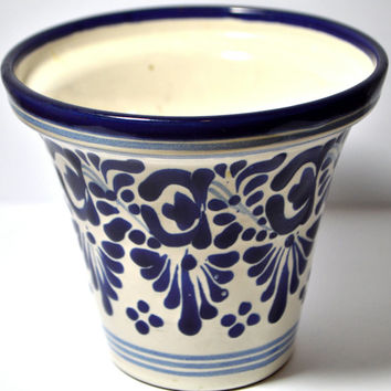 Puebla Mexico Hand Painted Art Signed Ceramic Pottery White Blue Flower Pot Vase