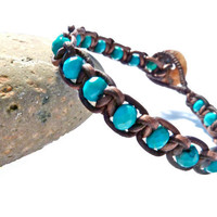 Turquoise Gemstones Macrame Leather and Mother by Jewelrybyleandra