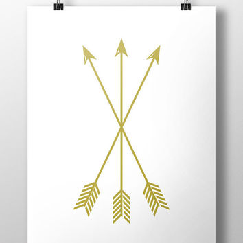Gold Arrow Print, Arrow Wall Art, Gold Wall Art, Arrow Wall Prints, Gold Arrows, Wall Art, Printable, Instant Download