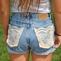 Lace back pocket high waisted shorts