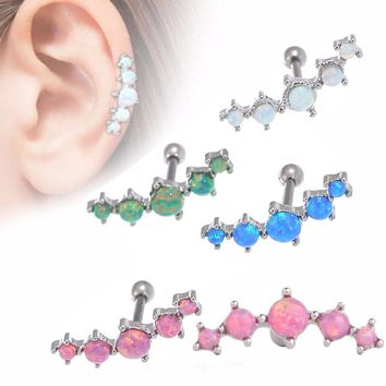 Vintage Tragus Earring Piercing Ring 5 Shinning Opal Stone Ear Plugs and Tunnel Opal Ear Bone Body Piercing