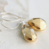 Pyrite and Sterling Silver Earrings by Simply Me Jewelry by MJ