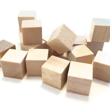 50 wood blocks, 1/2 inch blocks. wooden blocks, craft supply, decoupage, wood cubes, destash
