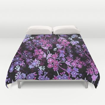 Pink & Purple Floral Pattern Duvet Cover by WhimsyRomance&Fun