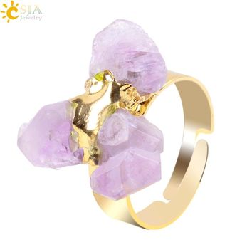 Irregular Purple Natural Gem Stone Ring