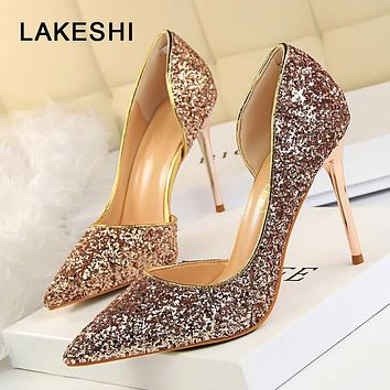 Womens Pumps Bling Glitter High Heels Sexy Shoes