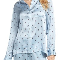 Asceno by Beautiful Bottoms Print Silk Pajama Top | Nordstrom