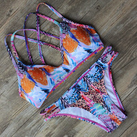 Push Up Printing Pattern Bikinis Set