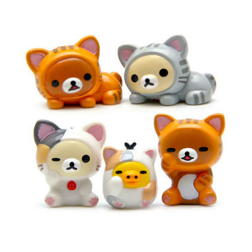 5pcs Rilakkuma in Cat Costume Miniature terrarium resin vinyl Figurine set, Keychain/charm DIY craft supply