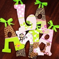 JUNGLE JILL INSPIRED HAND PAINTED WOOD WALL LETTERS
