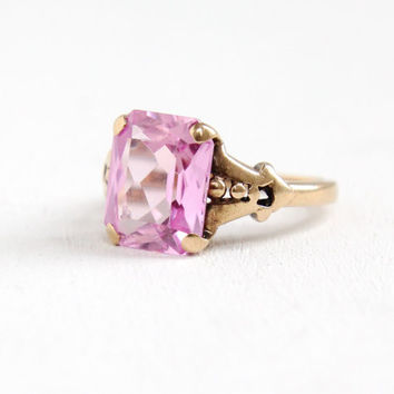 Vintage 10k Yellow Gold Pink Sapphire Ring - Art Deco 1930s Size 3 3/4 Emerald Cut Created Stone Fine Jewelry