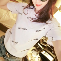 BALENCIAGA men and women T-Shirt Black, white,