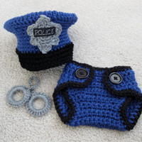 Police Set with Handuffs by MadhatterknitsCo on Etsy