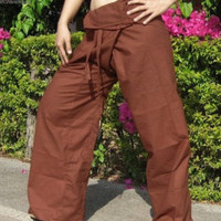 LT Green Fisherman Pants - 100% Cotton - Traditional Thai Pants!