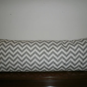 Decorative Body Pillow Cover- Free US Shipping - 20 X 54  inch Storm Gray and White Zigzag