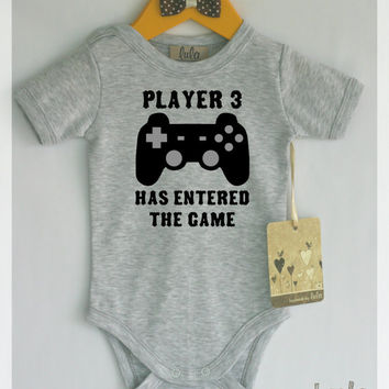 Funny baby clothes. Video games baby clothes. Player 3 has entered the game.