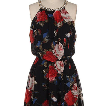 Vintage Roses Dress with Rhinestone Detail