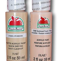 Apple Barrel Acrylic Paint Flesh Tones Set - Lite Mocha & Sunkissed Peach (2 Ounces Each)