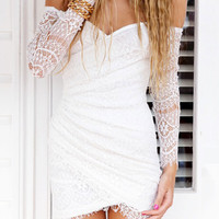 Off-Shoulder Long Sleeve Lace Wrap Mini Dress