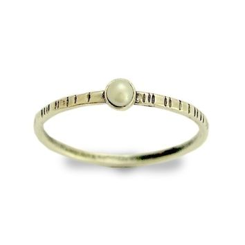 Gemstone silver ring -  thin grooved sterling silver band with a fresh water pearl - time out.