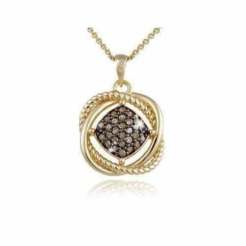 18K Gold over Sterling Silver 1/4ct Champagne Diamond Love Knot Necklace
