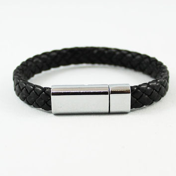 Mens Black Braided Leather Bracelet, Stainless Steel Clasp, Mens Jewelry