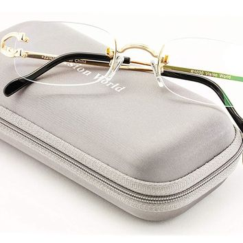V.W.E Rectangular Rimless Fashion Reading Glasses With Anti-reflective AR Coating