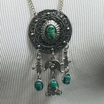 Boho Festival Hippie Tribal  Turquoise Silver Tone Pendant Necklace 28""