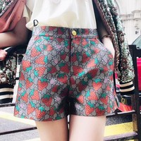 GUCCI Summer Newest Popular Women Casual Strawberry Jacquard Shorts