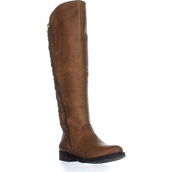 Steve Madden Northsde Quilted Tall Motorcycle Zip-Up Boots, Cognac, 6 US