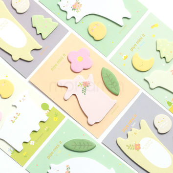 1 Pics Kawaii Cute Cat Rabbit Bear Korean Stationery Scrapbooking Stickers Post It Sticky Notes Memo Pad Bookmark Paper School
