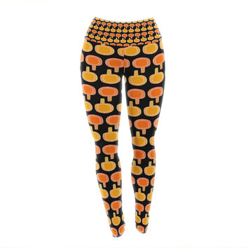 "Jane Smith ""Vintage Mushroom"" Orange Black Yoga Leggings"