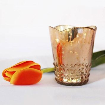 "Rose Gold Mercury Glass Candle Holder - 3.75"" Tall x 3"" Wide"