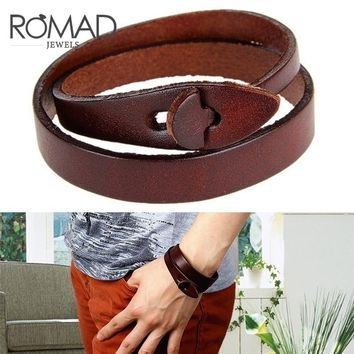 Romad Fashion Double Belt 100% Real Leather Wrist Bracelets For Women Men Buckle Punk Bangles Jewelry Male Female 2018 Gift G4