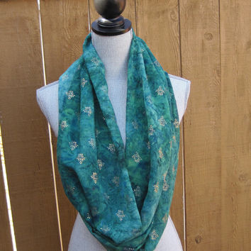 Infinity scarf, tube scarf, loop scarf, eternity scarf in emerald green and teal green with a gold metallic motif