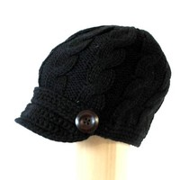 Womens Cable Knitted Beanie Short Visor Newsboy Hat with Side Wooden Buttons