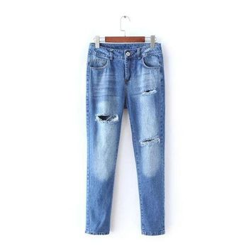 DCCKIX3 Stylish Rinsed Denim Ripped Holes Jeans Women's Fashion Skinny Pants [4919028100]