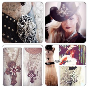 Custom lot, bib dress, hat, belt and necklace