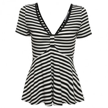 Women V Neck Ruched Twist Knot Short Sleeve Stripe Tunic Backless Tops Blouse
