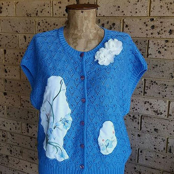 Blue Knitted Cardigan Sweater size 16