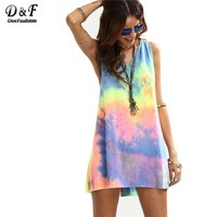 Dotfashion Ladies Summer Style Tie-dye V Neck Sleeveless Knotted Shift Dress Hollow Out Shift