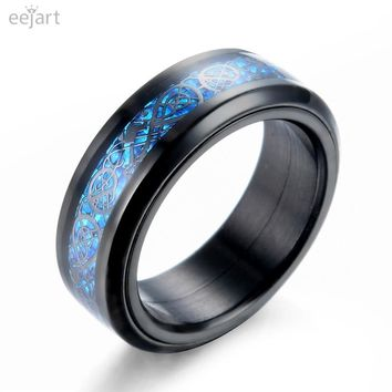 eejart Black 316L Stainless steel Ring Can be rotated Wedding Band blue Carbon Fiber des Nibelungen Dragon rings for men