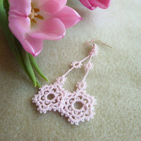 Long pink floral lace earrings - bridesmaid lace jewelry
