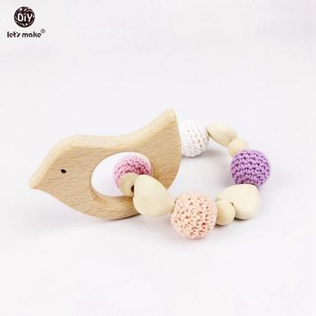 Let's Make Heart Elephant Wooden Crochet Holder Eco Friendly Baby Bird Fox Teething Baby Shower Dummy Chain Teether