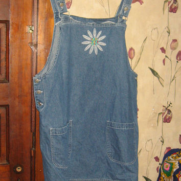 80s blue denim bib jumper mini dress  sz Xlarge