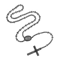 Rosary Necklace Black Simulated Diamond Jesus Charm