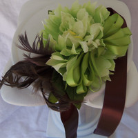 Wrist Corsage Mint Green and Brown Feather Wedding Wrist-let  Prom Homecoming
